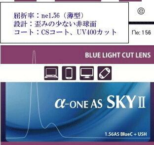 1.56非球面 アルファワンAS SKY ブルーライトカット(薄型)2枚1組