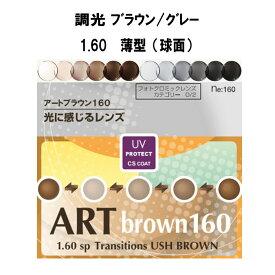 1.60調光レンズ アートグレー160HM/アートブラウン160HM(薄型)2枚1組
