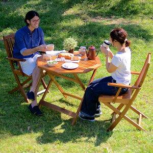 【パラソル使用可/折りたたみ可】八角テーブル 幅90cm & 肘掛有りチェア 3点セット ガーデンテーブル ガーデンチェア 木製テーブル 木製チェア ガーデンファニチャー 折りたたみテーブル