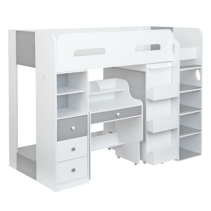 【たっぷり収納/ハンガーラック付き】ハイタイプ システムベッド 3点セット Settle(セトル) 2color システムベット ロフトベッド システムベッドデスク ロフトベット デスクベッド 子供用ベッド