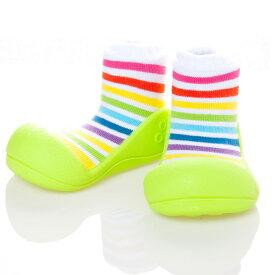 【ラッピング無料】ベビーシューズ baby shoes Attipas RainBow(アティパス レインボー) S.M.L.XL ホワイト/グリーン/イエロー
