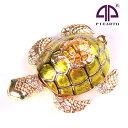 < 親子カメ ジュエリーボックス 宝石箱>海亀のインテリア置物 親子のウミガメ縁起物モチーフ クリスタル付き小物入れ プレゼントに …