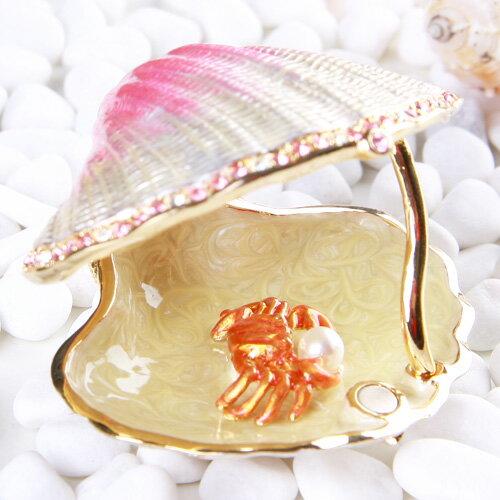 ジュエリーボックス シェル アクセサリーケース クリスタルガラスがキラキラ輝く貝殻の置物 中には真珠を持ったカニのサプライズ! ギフト 卒業 入学 可愛い 誕生日プレゼント 女性 クリスマス 新生活 母の日 【あす楽対応】