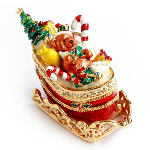 <マロンのゆきぞり ジュエリーボックス>プレゼントいっぱいの雪ぞりに乗ったクマちゃん ジュエリーボックス 小物入れ 宝石箱 ギフト 卒業 入学 可愛い 誕生日プレゼント 女性 【あす楽対応】クリスマスツリー クリスマス 新生活 母の日