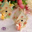 <バードハウス ジュエリーボックス アクセサリーケース ジュエリーケース>小鳥の巣箱 オブジェ クリスタルガラス スワロ ピィアース …