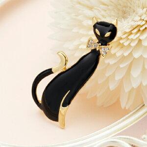 ゴールドベースのブラックキャットブローチ リボンにラインストーン6粒 国産 日本製 ストール留め ねこ ネコ 猫 アニマル メール便 送料無料 プレゼント 秋冬