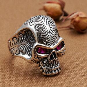 リング メンズ 指輪 シルバー925製 キュービックジルコニア ドクロ スカル 頭蓋骨モチーフ メンズ 送料無料 春夏 大人気