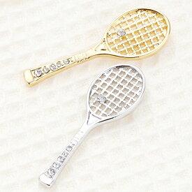 ブローチ ピンブローチ ニッケルフリー ラインストーン ラケット テニスラケット ポイントアクセサリー バッグ 帽子 ストール ジャケット テニスバッグに オシャレ レディース かわいい テニスサークル メール便 送料無料 春夏