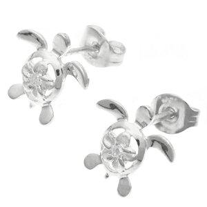 レディーススタッドピアス亀カメホヌ海亀ウミガメハワイアンプルメリア花シルバー925キュービックジルコニアシンプルプレゼント
