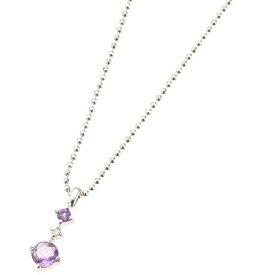 ネックレス レディース アメジスト スリーストーン 天然ダイヤモンド シルバー925 2月の誕生石 ジュエリーケース 宝石鑑別書カード あす楽 送料無料 紫水晶