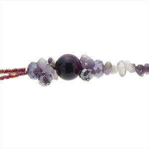 ネックレスレディース天然石さざれアメジストハウライトターコイズローズクォーツロングロープ数珠パープルブルーライトピンク