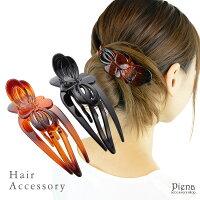 ヘアアクセサリーヘアクリップバンスクリップレディースバタフライ蝶々シンプル大人かわいい小さめ定番髪留めオフィススタイルデイリーヘアアレンジブラウンブラックプレゼントガバチョメール便送料無料