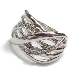 リング 指輪 レディース 日本製 スワロ使用 シルバー 4本線 流水リング デザイン ファッション 太め