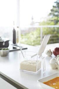 調味料ストッカー アクア L ホワイト 粉物入れ 塩入れ 砂糖入れ 調味料ケース 保存容器 計量スプーン付き ギフト プレゼント