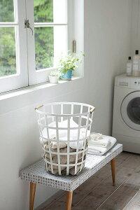 洗濯かご 丸型 ランドリーバスケット トスカ ラウンド ホワイト 大容量 モダン スタイリッシュ ギフト プレゼント 春夏 大人気