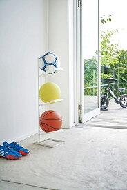 ボールスタンド3段 ホワイト ブラック タワー ボール置き ラック 収納 フック付き 玄関 エントランス ギフト プレゼント