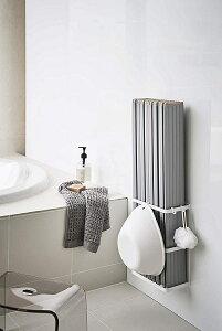 マグネットバスルーム折り畳み風呂蓋ホルダー バスタブ収納 水切れが良い シャッター式タイプも収納可 フック付き 簡単取付 バス便利雑貨 ホワイト 白 お風呂場 整理整頓