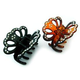 ジルコンのバタフライモチーフヘアクリップ 蝶々モチーフのヘアバンス メール便 送料無料