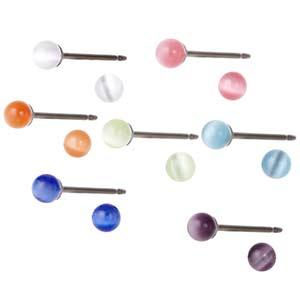 メール便送料無料 医療用チタン製ポスト キャッツアイピアス 選べる11色 さらに直径3ミリと4ミリをご用意