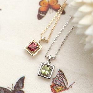 K10WG K10 0.01ctの天然ダイヤモンドとスクエアカット天然石のネックレス あずきチェーン ダイアモンドの宝石鑑別書カード付き パワーストーン ホワイトゴールド/ペリドット ゴールド/ロード