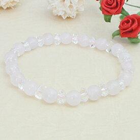 天然石ローズクォーツの数珠ブレスレット 恋愛成就のパワーストーン メール便 送料無料