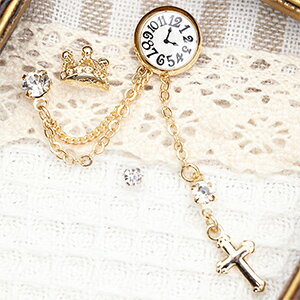 スタッドピアス 2ホールピアス 4点セット 日本製 時計とストーンの2ホール クロスチャームフリンジ 王冠 ティアラ レディース サージカルステンレス製ポスト 低アレルギー