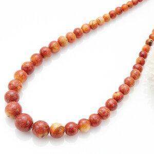 ネックレス アップルサンゴ 天然石 りんごのようなナチュラルな赤 カジュアルにも ドレスアップにも レディース ワンピースやシャツに合わせてオシャレ かわいい 大人らしい 染色あり メ