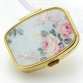 携帯用アクセサリーケース バラ柄 薔薇柄 ラインストーン パール 真珠 ミラー付 つけまつげケース つけまケース ピルケース 仕切り付き ジュエリーケース メール便 送料無料