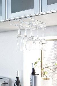 戸棚下ワイングラスハンガー タワー  ダブル ホワイト ブラック 2列 グラス掛け ワイングラスホルダー 吊り下げグラスラック 白 黒メール便定型外郵便不可