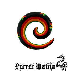 2g マリファナ!ジャマイカン スパイラルピアス レゲエ ホーンピアス★ボディピアス 拡張器 イヤーロブ 天然素材 バッファロー