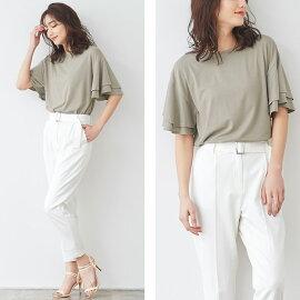 2typeデザインとろみ素材Tシャツレディース半袖フレアフリル無地レーヨン混シンプルベーシックMLPierrotピエロ