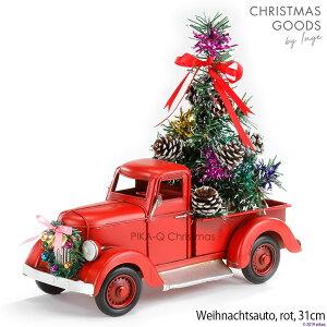 INGE-GLAS[カー][H]赤 レッド クリスマス オールドカー アンティーク加工 withリース、クリスマスツリー Christmas car, red, 31 cm, metal ヴィンテージカー 男性向けクリスマスプレゼント 彼氏へ 夫へ 父