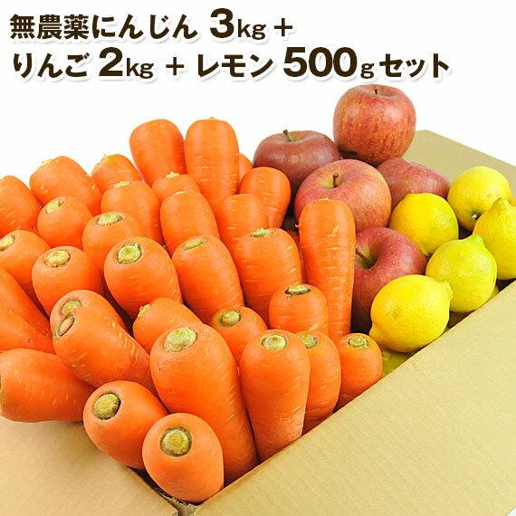 送料無料 無農薬にんじん野菜セット(無農薬にんじん3kg+りんご2kg+レモン500g) にんじんジュース キット コールドプレスジュース用 朝食キット りんご 無農薬 酵素 生酵素 ゲルソン療法 あす楽