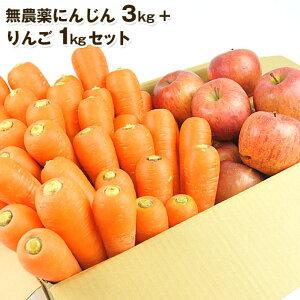 送料無料 無農薬にんじん野菜セット(無農薬にんじん3kg+りんご1kg) にんじんジュース キット コールドプレスジュース用 朝食キット 常温便 りんご 無農薬 酵素 生酵素 ゲルソン