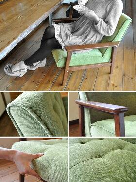 1人掛けソファレトロアンティーク1Pカフェ家具カフェ家具ソファグリーン緑レトロソファファブリック布コンパクトカフェ家具カフェ家具