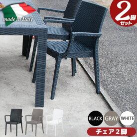 ガーデンチェア プラスチック 肘あり ラタン調 お手入れ簡単 イタリア製 アウトドアチェア 新生活