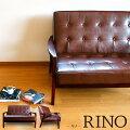 アンティーク&レトロの木製肘掛け2人掛けソファ