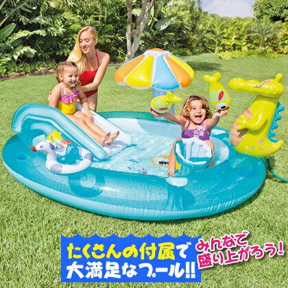 プールINTEXキャンディープールビニールプール子供用プール家庭用プール大型おしゃれ滑り台すべり台