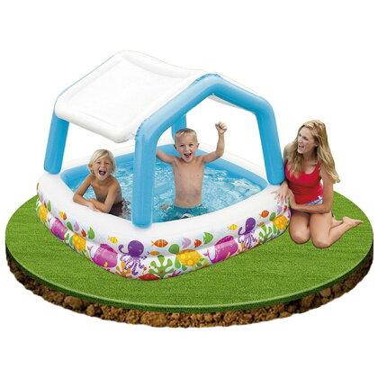 プールINTEX(インテックス)サンシェードプールビニールプール子供用プールベランダ家庭用プール長方形屋根付きベビープール日よけ