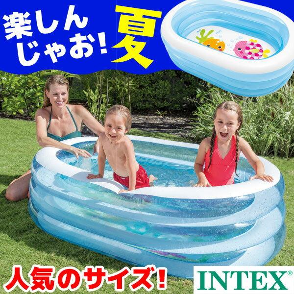 プール INTEX(インテックス) オーバルプール 163×107×46cm ビニールプール 子供用 プール ベランダ 家庭用プール 長方形 おしゃれ 小さい かわいい
