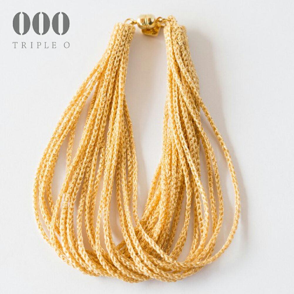 【000/TRIPLE O】ストリーム ラメ ブレスレット(ゴールド)STL003