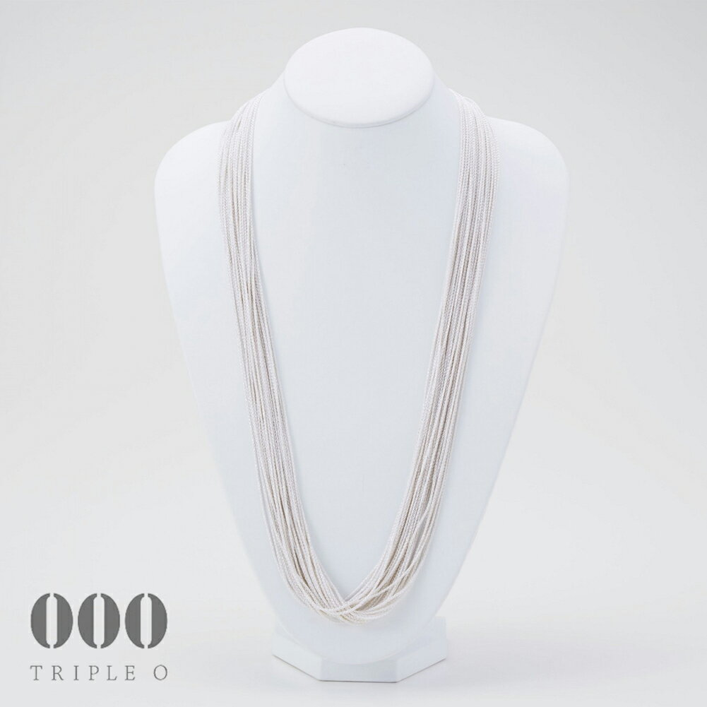 【000/TRIPLE O】ストリーム ラメ ロングネックレス(シルバー)80cm STL002