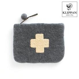 【KLIPPAN】フェルトポーチ シャーンスンドクロス(グレー/ベージュ)