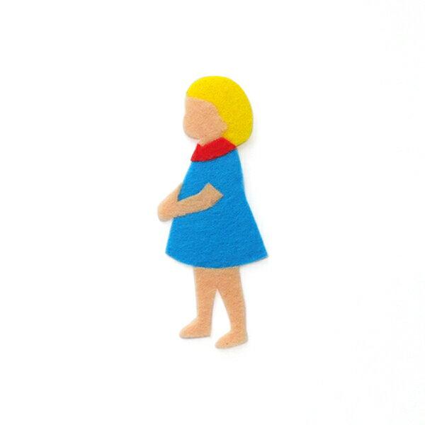【リバース プロダクツ/Re:VERSE PRODUCTS】アイロン接着フェルトアップリケ(青服の女の子)A-02