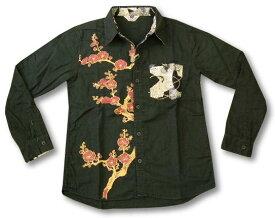 ちきりや 長袖シャツ チキリヤ 紅梅柄 メンズ 和柄 ガーゼ素材 mm5165 黒 新品