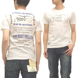 ノートンモーターサイクル Tシャツ メタルストーン メンズ 半袖tee 32N1008 オフ白 新品