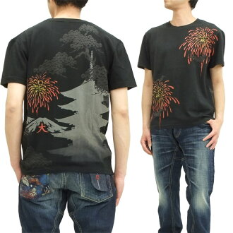 Cropped heads T shirt bat Fireworks cropped heads Japanese pattern men's short sleeve tee 1311-09 black brand new