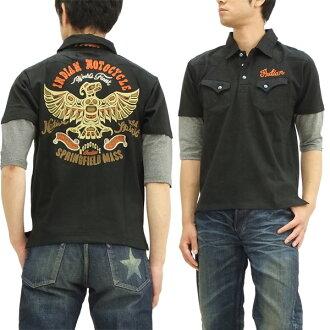 インディアンモト cycle 6-sleeve polo shirt batoumusume men's 6-sleeve POLO imps-312 black new