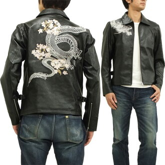 233138 mechanism soul fake leather riders jacket sum pattern dragon cherry tree embroidery men black new articles