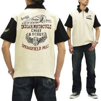 インディアンモトサイクルジップポロシャツメンズ T-cloth short sleeves POLO IMPS-404 natural new article